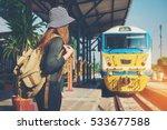 traveler woman walking and... | Shutterstock . vector #533677588
