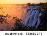 Small photo of Victoria Falls at sunset. Zambia