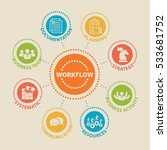 workflow. concept with icons... | Shutterstock .eps vector #533681752