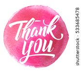 thank you lettering on hand... | Shutterstock .eps vector #533685478