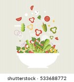salad plate. ingredients.... | Shutterstock .eps vector #533688772