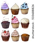 set of cupcakes line drawn on a ... | Shutterstock .eps vector #533688826