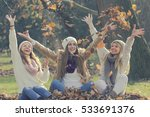 three girls in the park sitting ... | Shutterstock . vector #533691376