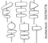 vector set of direction post | Shutterstock .eps vector #533700778