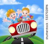 a cartoon boy and girl having... | Shutterstock . vector #533702896