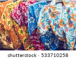 tropical men shirts on display... | Shutterstock . vector #533710258
