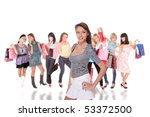group of shopping girls over... | Shutterstock . vector #53372500