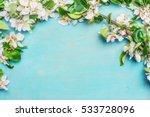 white spring blossom on blue... | Shutterstock . vector #533728096