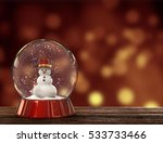 Snow Globe With Snowman. Merry...