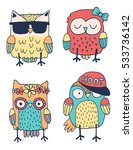 set of four quirky colorful... | Shutterstock .eps vector #533736142