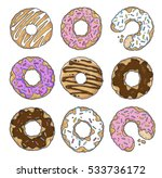 set of cute hand drawn donuts... | Shutterstock .eps vector #533736172
