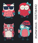 set of four quirky colorful... | Shutterstock .eps vector #533736442