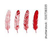 Feather Set. Vintage Colored...