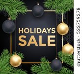christmas sale poster with gold ... | Shutterstock .eps vector #533759278