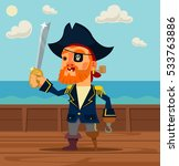 happy pirate captain man... | Shutterstock .eps vector #533763886