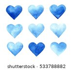 Watercolor Set Of Blue Hearts...