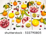 mix of colored fruits on white... | Shutterstock . vector #533790805