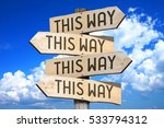 wooden signpost with four... | Shutterstock . vector #533794312