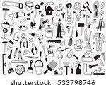 working tools  doodles set   Shutterstock .eps vector #533798746