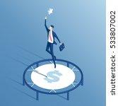 businessman using a trampoline... | Shutterstock .eps vector #533807002
