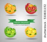 fresh fruits icon  orange  lime ... | Shutterstock .eps vector #533831152