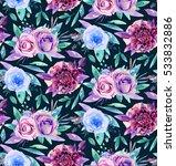 Watercolor Floral Pattern. Boh...