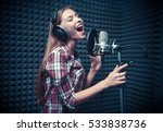 young woman singing in a... | Shutterstock . vector #533838736