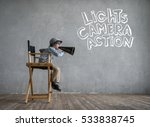 screaming director in studio | Shutterstock . vector #533838745