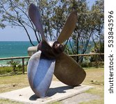 Small photo of Propeller made of solid stainless steel of the Cherry Venture ship which ran aground in 1978 at Teewah Beach in Queensland.