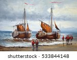 Boats  Fishermen  Sea  Oil...