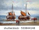 Boats  Fishermen  Sea  Oil...