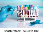 blood sample in tube labeled... | Shutterstock . vector #533845102