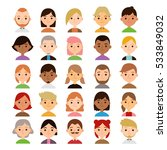set of different cartoon female ... | Shutterstock .eps vector #533849032