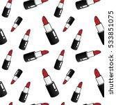 lipstick seamless pattern | Shutterstock .eps vector #533851075