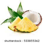 pineapple slices and half of... | Shutterstock . vector #533855362