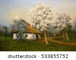 ukraine house oil painting... | Shutterstock . vector #533855752