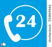 handset 24 hours  icon  vector...