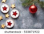 linzer star cookies with jam... | Shutterstock . vector #533871922