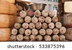 a pile of italian salami  front ... | Shutterstock . vector #533875396