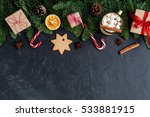 dark christmas background  top... | Shutterstock . vector #533881915
