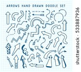 hand drawn arrows doodle set.... | Shutterstock .eps vector #533887936