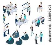 coworking people isometric set... | Shutterstock . vector #533891605