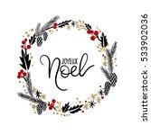 joyeux noel hand lettering...   Shutterstock .eps vector #533902036