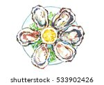 watercolor oysters plate with... | Shutterstock . vector #533902426