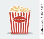pop corn in red box. flat... | Shutterstock .eps vector #533911492
