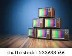 heap of retro tv sets with no... | Shutterstock . vector #533933566