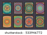 collection retro cards. ethnic...