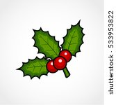holly berry isolated on white... | Shutterstock .eps vector #533953822