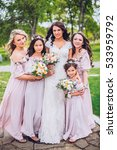 bride with bridesmaids and... | Shutterstock . vector #533959792