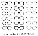 A set of glasses isolated. Vector glasses model icons. Sunglasses, glasses, isolated on white background. Silhouettes. Various shapes - stock illustration.